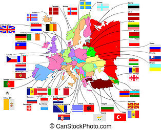 európa, térkép, zászlók, ország