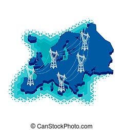 európa, villamos energia, hálózat