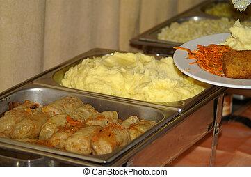 európai, büfé, edények, különböző, nagy, étterem