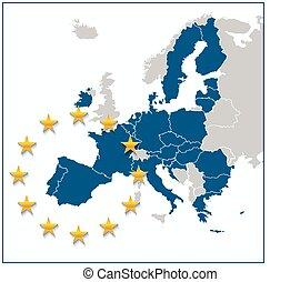 európai, térkép, egyesítés
