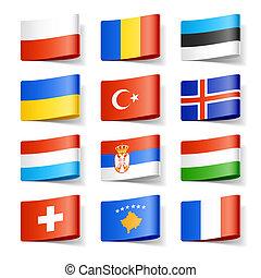 europe., flags., világ