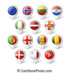 europe., térkép, flags., irányzók