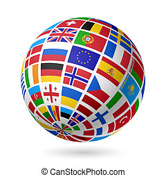 europe., zászlók, globe.