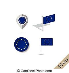 european lobogó, faszegek, térkép, egyesítés