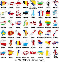 european lobogó, térkép, részletek, alakít
