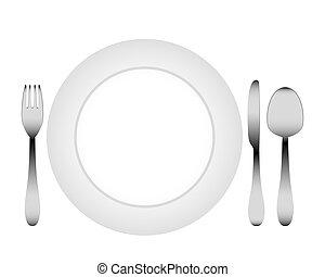 evőeszköz, white tányér