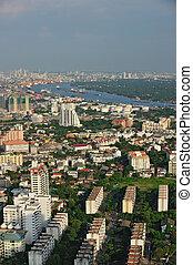 evenin, kilátás, bangkok, folyó, chaophraya, város, bird's-eye