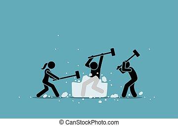 event., törő, jég, játék, icebreaker, elfoglaltság, vagy