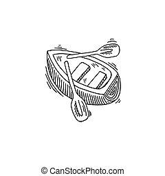 evezés, rajz, skicc, csónakázik, ikon