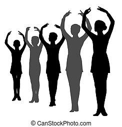 evez, álló, táncosok, balett, lány, fiú, kelt kezezés
