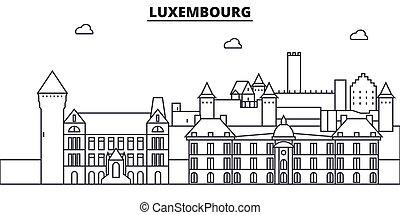 evez, cityscape, nevezetességek, táj, vektor, iránypont, illustration., híres, tervezés, wtih, egyenes, építészet, luxemburg, láthatár, város, lineáris, editable, icons.