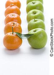 evez, clementines, változatosság, kovácsol, -, narancsfák, alma, háttér, nagymama, fehér