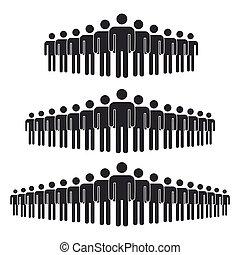 evez, emberek, csoport, álló, tolong, körvonal, nagy