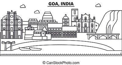 evez, nevezetességek, tervezés, cityscape, goa, táj, vektor, láthatár, város, lineáris, editable, icons., iránypont, egyenes, építészet, illustration., híres, india, wtih