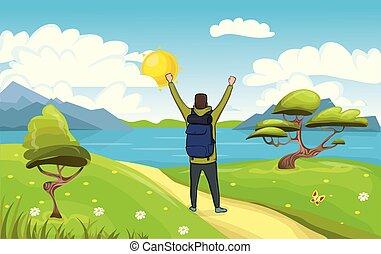 explorer., boldog, emelt, illustration., jelkép, fiatal, backpacker, vektor, seaside., kézbesít, kiránduló, ember, success.
