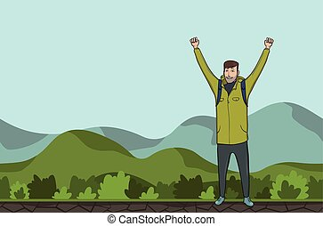 explorer., emelt, success., jelkép, fiatal, space., dombos, backpacker, area., vektor, ábra, kézbesít, másol, ember, kiránduló