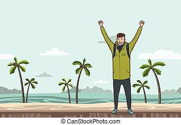 explorer., emelt, tengerpart., success., jelkép, fiatal, space., backpacker, vektor, ábra, tenger, kézbesít, másol, ember, kiránduló