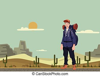 explorer., fiatal, ábra, backpacker, vektor, space., desert., másol, ember, kiránduló