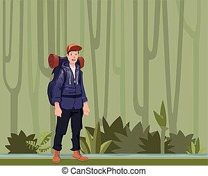 explorer., fiatal, ábra, forest., backpacker, vektor, space., kiránduló, másol, ember, dzsungel