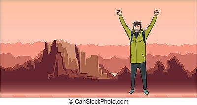 explorer., hegy, emelt, success., parkosít., jelkép, fiatal, space., backpacker, vektor, ábra, kézbesít, másol, ember, kiránduló