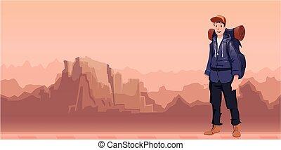 explorer., hegy, parkosít., fiatal, ábra, backpacker, vektor, space., másol, ember, kiránduló