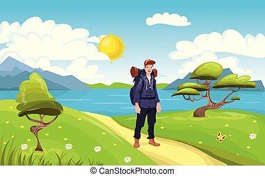 explorer., seaside., illustration., fiatal, backpacker, vektor, kiránduló, ember, boldog