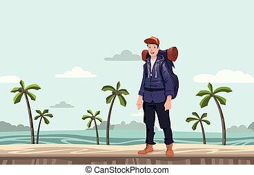 explorer., tengerpart., fiatal, ábra, backpacker, vektor, space., tenger, másol, ember, kiránduló