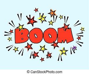 explosion., -, karikatúra, loccsanás, dörgés, csillaggal díszít, tréfás könyv