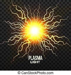 explosion., varázslatos, effect., sphere., elszigetelt, ábra, villámlás, gyakorlatias, feszültség, vector., meteor, vérplazma, áttetsző