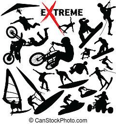 extrém, körvonal, vektor, sport