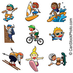 extrém, karikatúra, ikon, sport