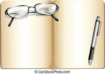 eyeglass, könyv, üres, ballpen