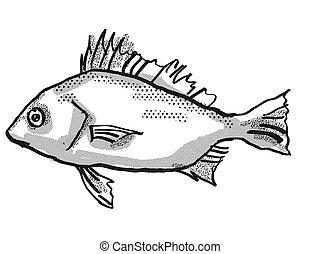 ezüst, ausztrál, rajz, retro, fish, karikatúra, gerely