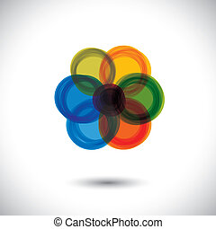ez, elvont, circles-, graphic., piros, különböző, virág, vektor, icon(sign)as, zöld, gyönyörű, szeret, kék, színes, egyszerű, ábra, s a többi, őt előad, elkészített, narancs, befest