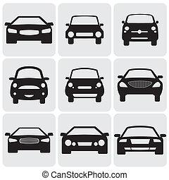 ez, szín, fényűzés, graphic., ellen, jelkép, lejtő, megállapodás, view-, icons(signs), vektor, elülső, autó, ábra, black háttér, őt előad, fehér, car's, kilenc, utas