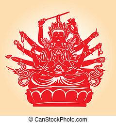 ezer, kézbesít, buddha.