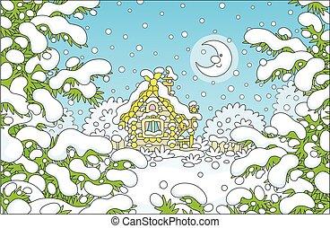 fából való, éjszaka, épület, kicsi, tél