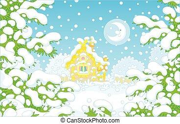 fából való, éjszaka, épület, tél, holdvilágos