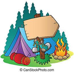 fából való, aláír, kempingezés sátor