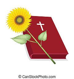 fából való, biblia, jámbor, napraforgó, kereszt