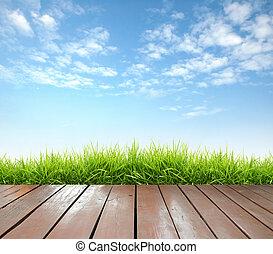 fából való, eredet, zöld, terasz, friss, fű