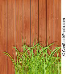 fából való, fű, zöld, kerítés