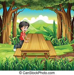fából való, fiú, asztal, erdő, bírói szék