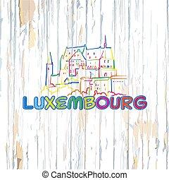 fából való, háttér, luxemburg, színes, rajz