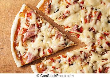 fából való, háttér, pizza