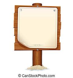 fából való, kép, aláír, dolgozat, vektor, scroll.
