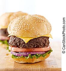 fából való, két, cheeseburgers, surface.