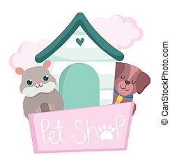 fából való, kedvenc, hörcsög, karikatúra, háziállat, kevés, épület, kutya, bolt
