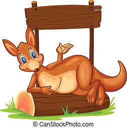 fából való, kenguru, cégtábla, üres, alatt