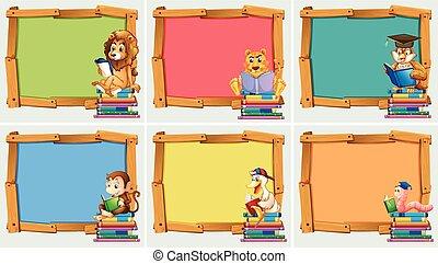 fából való, keret, előjegyez, állatok, felolvasás